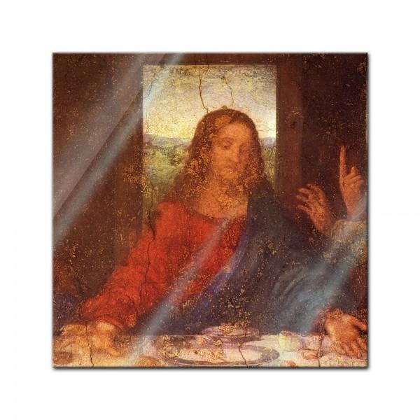 Glasbild Leonardo da Vinci - Alte Meister - Das Abendmahl - Jesus Detail