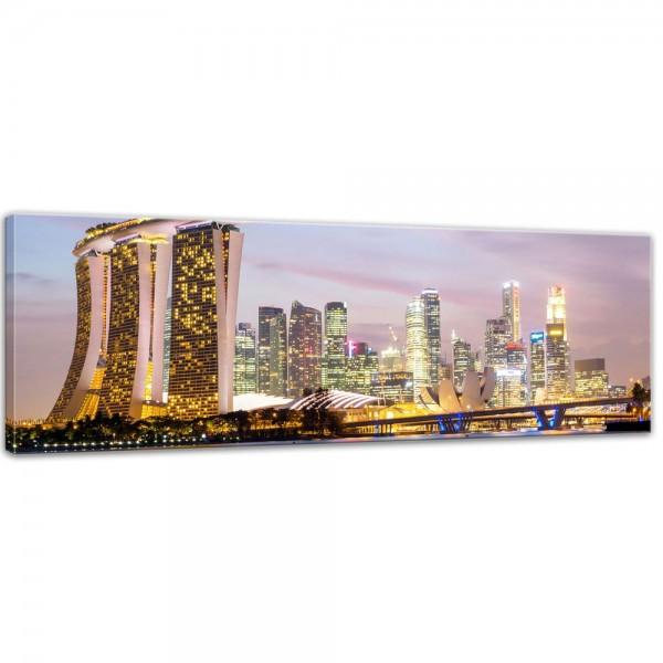 SALE Leinwandbild - Singapur - Skyline II - 160x50 cm