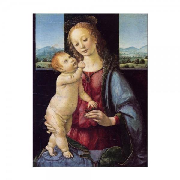 Leinwandbild - Leonardo da Vinci - Madonna mit der Nelke