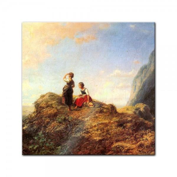 Glasbild Carl Spitzweg - Alte Meister - Zwei Mädchen auf der Alm