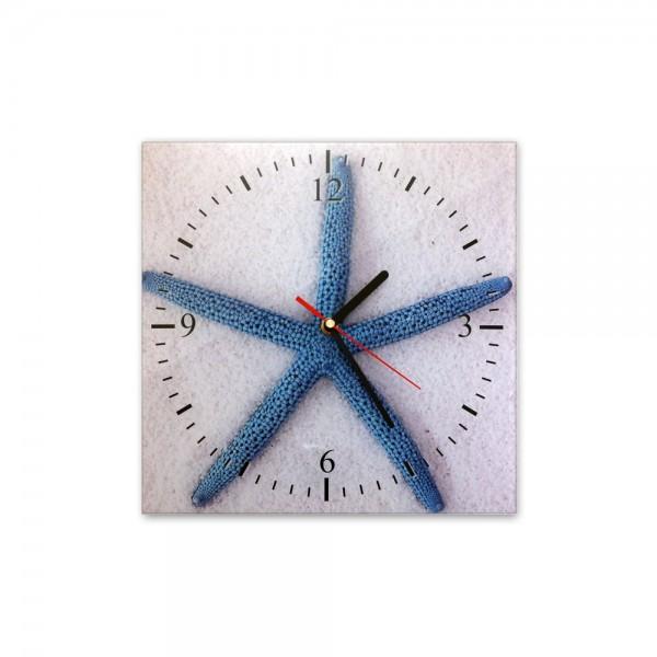 Glasuhr, Maritim Motiv - Blauer Seestern - 362