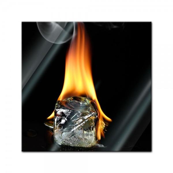 Glasbild - Brennender Eiswürfel