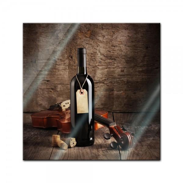 Glasbild - Wein und Violine