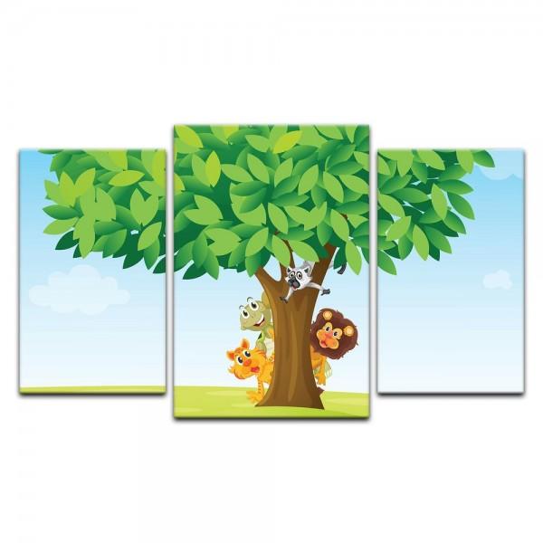 Leinwandbild - Kinderbild - Baum mit Tieren