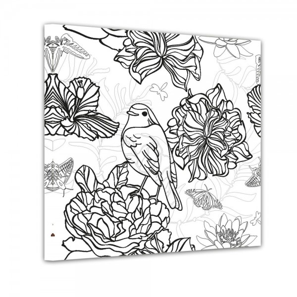 Vogel mit Blumen - Ausmalbild