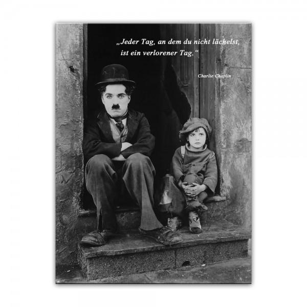 Leinwandbild mit Zitat - Jeder Tag, an dem du nicht lächelst, ist ein verlorener Tag. - II (Charlie