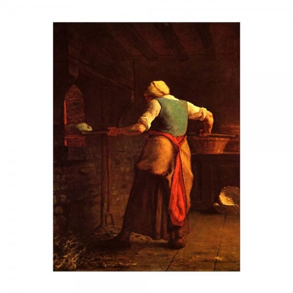 Leinwandbild - Jean-François Millet - Frau beim Brotbacken
