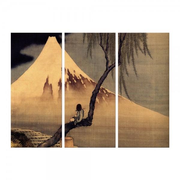 Leinwandbild - Katsushika Hokusai - Flötenspieler auf einem Trauerweidenzweig, den Fuji betrachtend