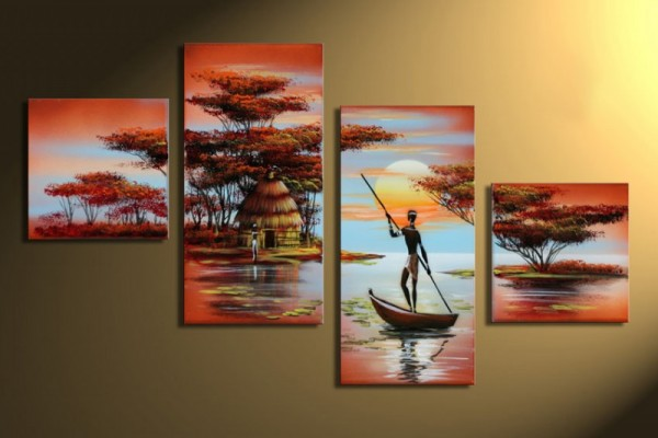 African Dreams M2 - Leinwandbild 4 teilig 80x50cm Handgemalt