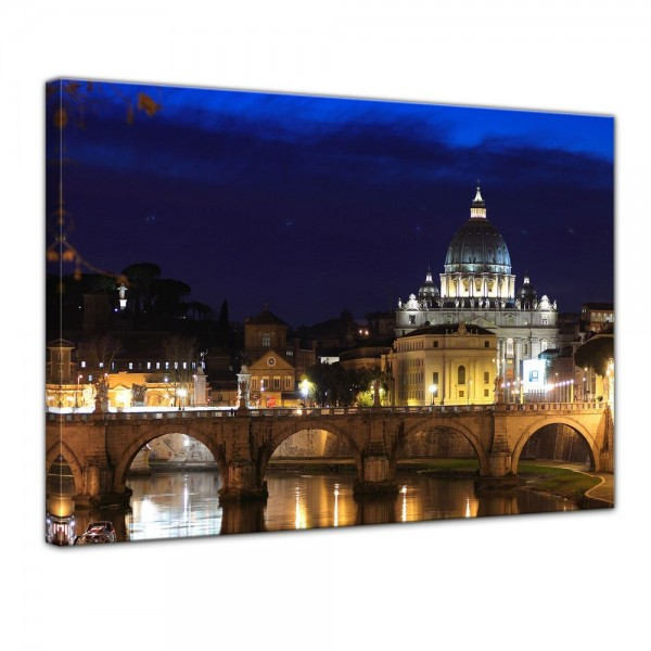 SALE Leinwandbild - Vatican at Night from Ponte Umberto Uno - 80x60 cm