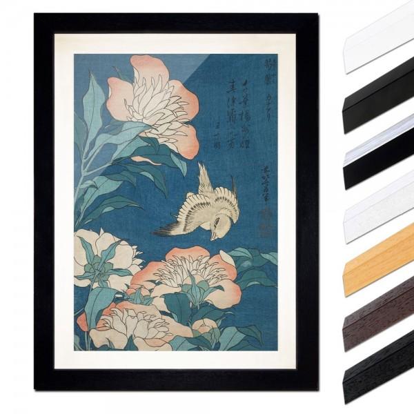 Katsushika Hokusai - Pfingstrosen und Kanarienvogel