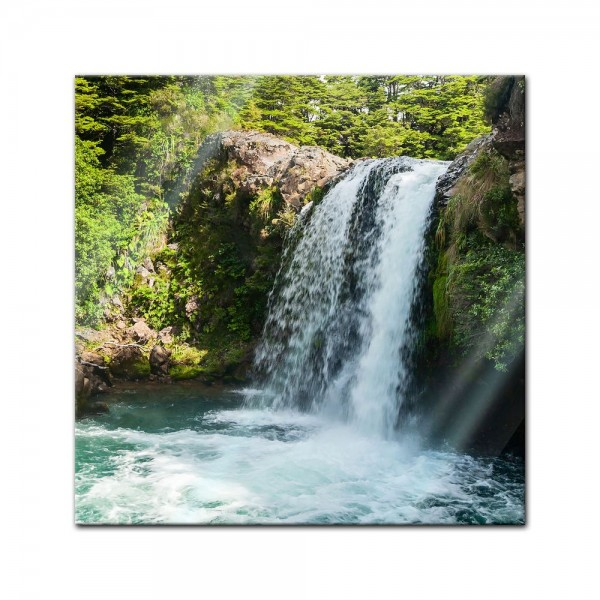 Glasbild - Tawhai Falls - Neuseeland