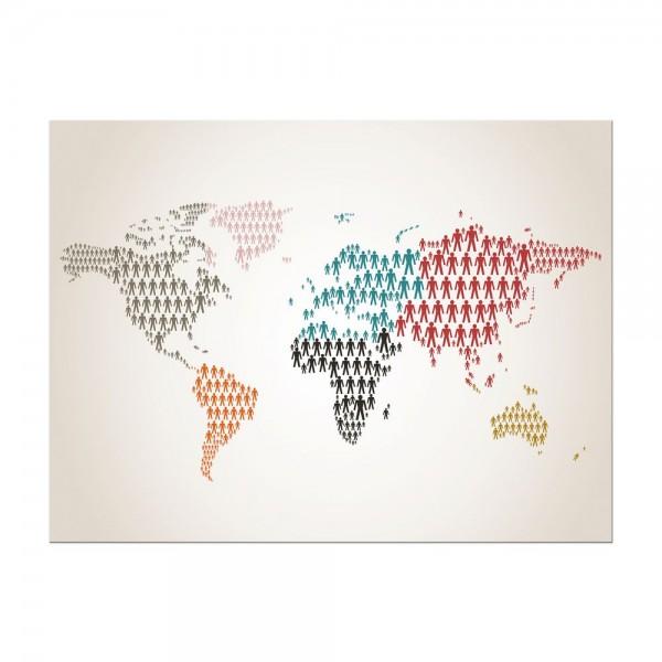 Leinwandbild - Weltkarte Piktogramm Mensch II