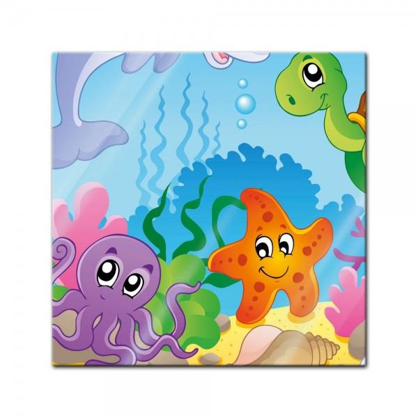 Glasbild - Kinderbild Unterwasser Tiere IV
