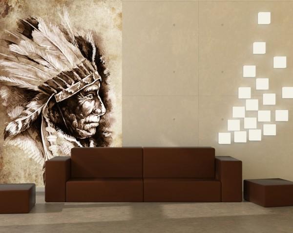 Fototapete - Indianer III, Tattoo Art (Sitting Bull)