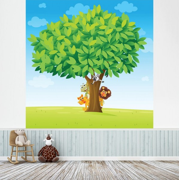 selbstklebende Fototapete - Kinderbild - Baum mit Tieren