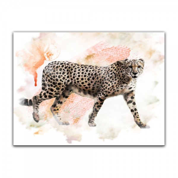 Leinwandbild - Aquarell - Leopard