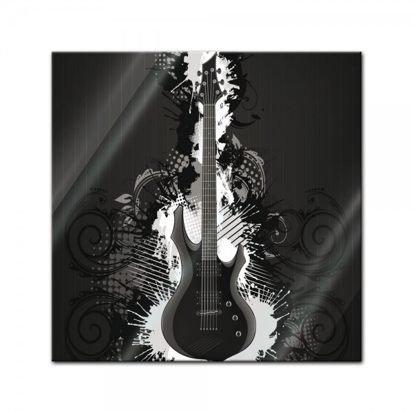 Glasbild - E-Gitarre Illustration - sw