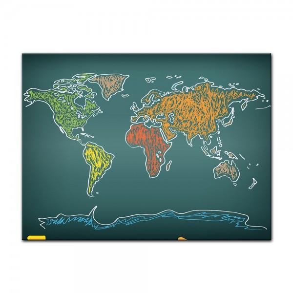 Leinwandbild - Weltkarte auf Tafel