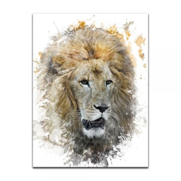 Leinwandbild - Aquarell - Löwe