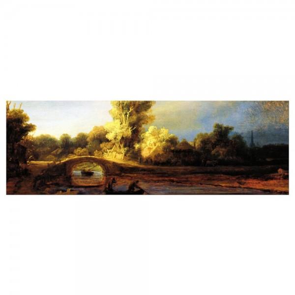 Leinwandbild - Rembrandt - Landschaft mit Steinbrücke