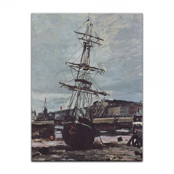 Leinwandbild - Claude Monet - Gestrandetes Boot in Fécamp