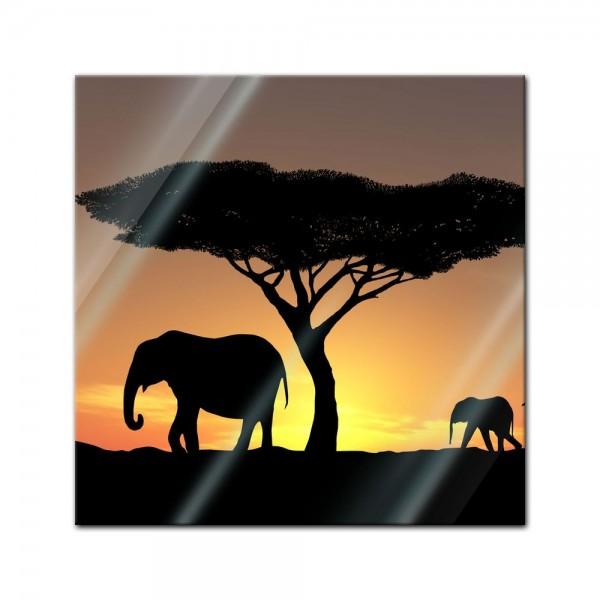 Glasbild - Elefanten Familie