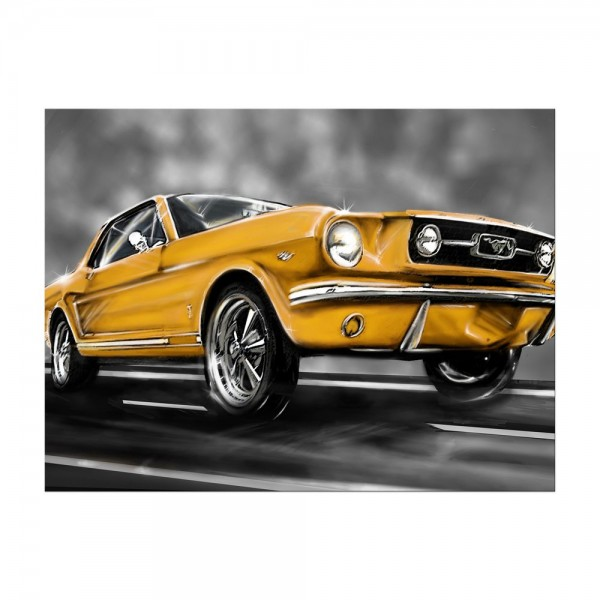 Leinwandbild - Mustang Graphic - gelb