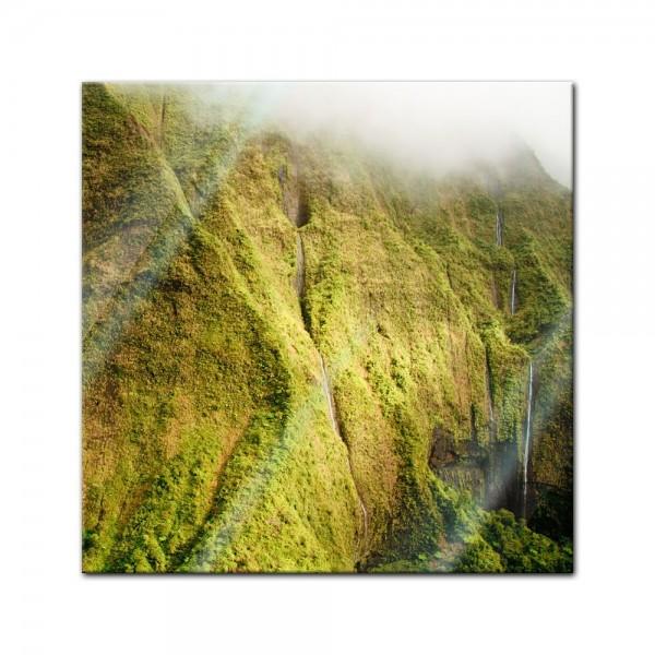 Glasbild - Mt. Waialeale Wasserfall Kauai