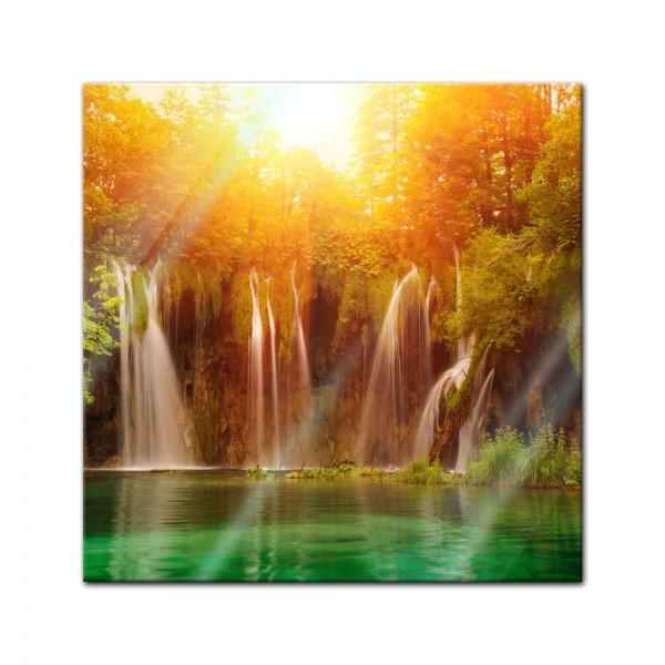 Glasbild - Wasserfall, Plitvice Kroatien