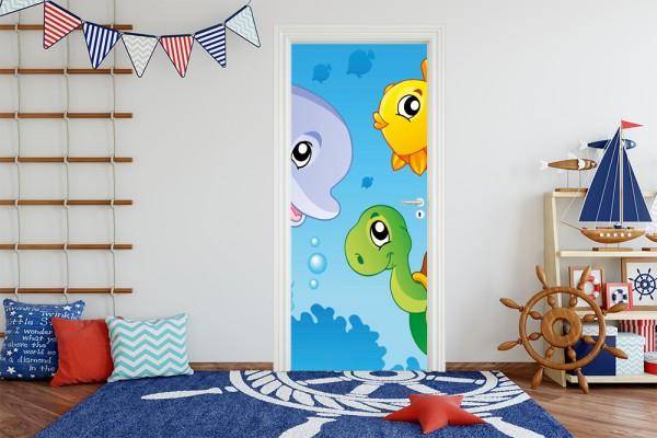 Türaufkleber - Kinderbild Unterwasser Tiere III