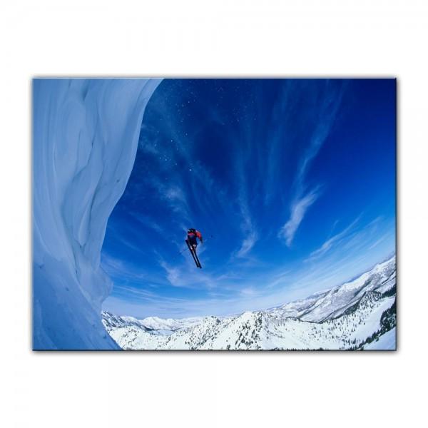 Leinwandbild - Skifahrer im Sprung