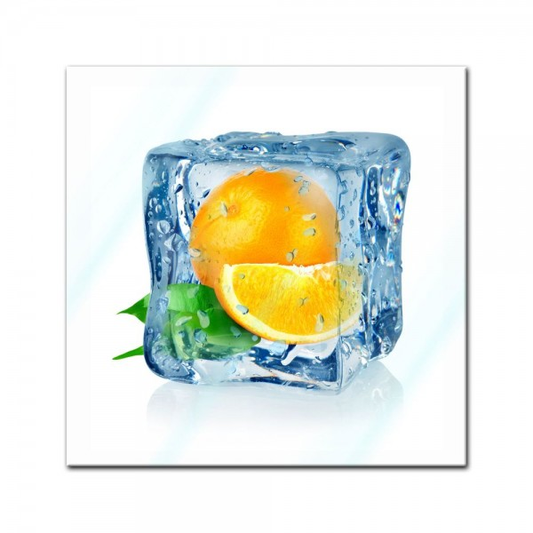 Glasbild - Eiswürfel Orange