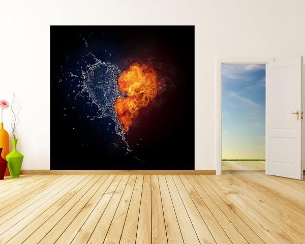 Fototapete - Herz - Feuer und Wasser