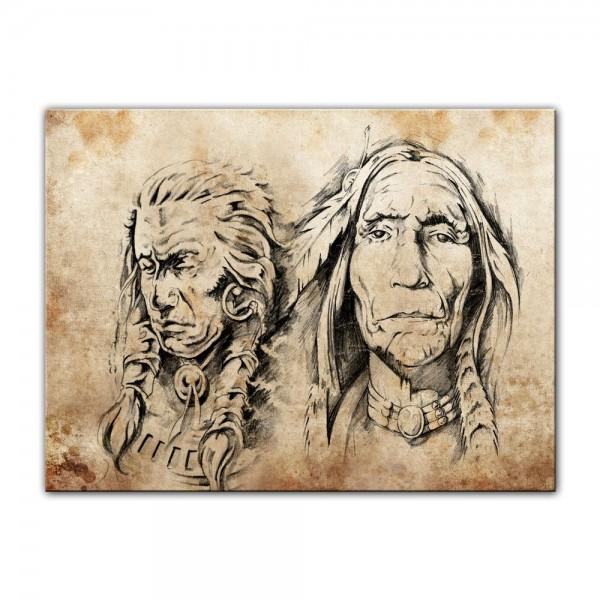 Leinwandbild - Indianer VI, Tattoo Art