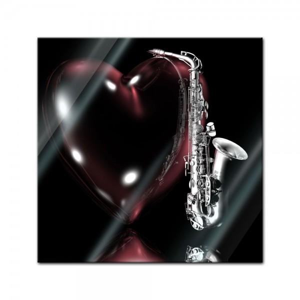 Glasbild - Saxophon mit Herz