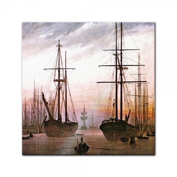 Glasbild Caspar David Friedrich - Alte Meister - Ansicht eines Hafens