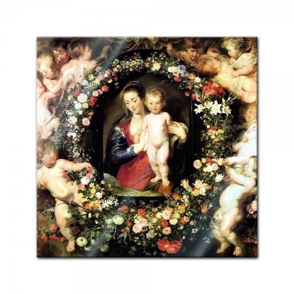Glasbild Peter Paul Rubens - Alte Meister - Madonna im Blumenkranz