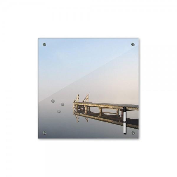 Memoboard - Landschaft - Steg Spiegelung - 40x40 cm