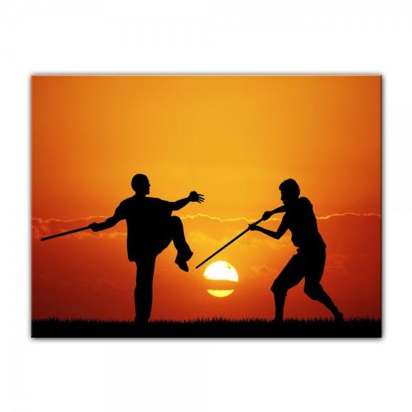 Leinwandbild - Silhouette - Kung Fu