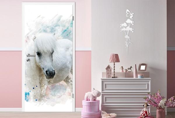 SALE - Türaufkleber Aquarell Pferd 90x200 cm