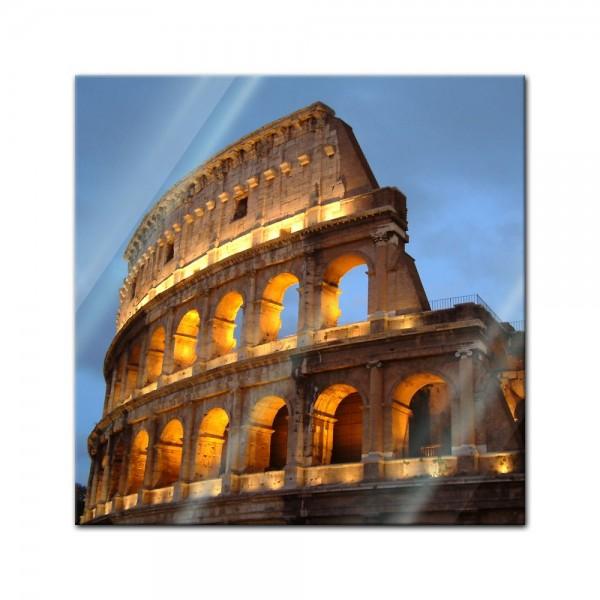Glasbild - Rom - Kolosseum in der Dämmerung