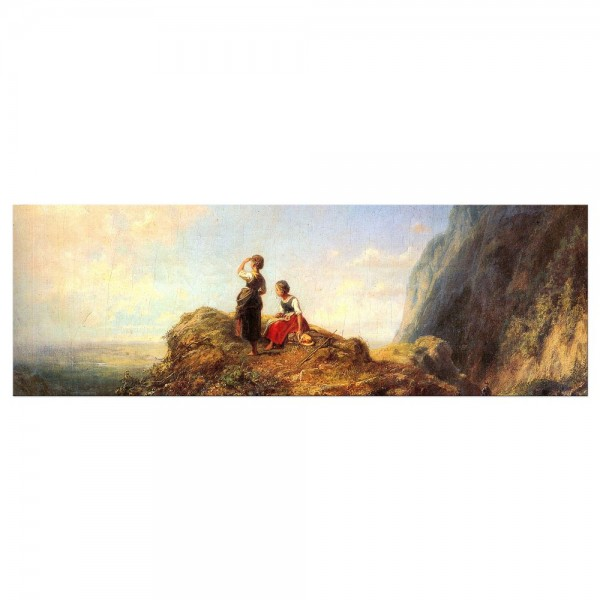 Leinwandbild - Carl Spitzweg - Zwei Mädchen auf der Alm