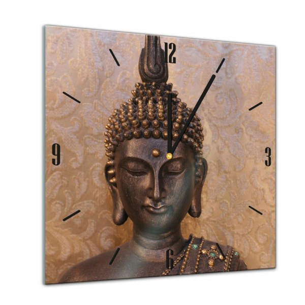 Glasuhr - Geist & Seele - Buddha - 40x40cm