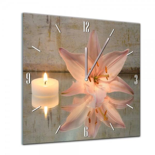 Glasuhr - Geist & Seele - Lilie und Kerzen - 40x40cm