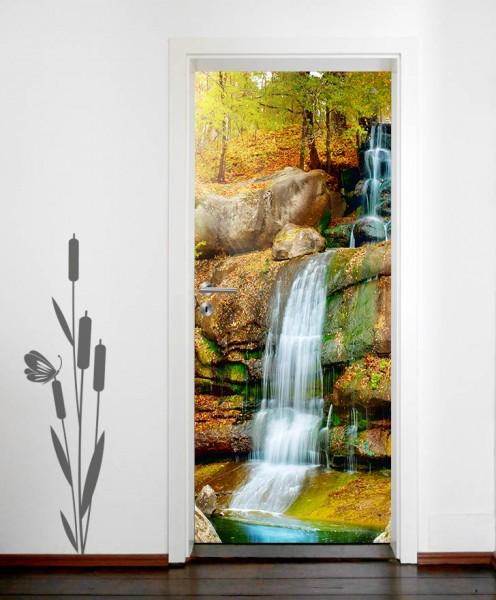 Türaufkleber Wasserfall im Regenwald