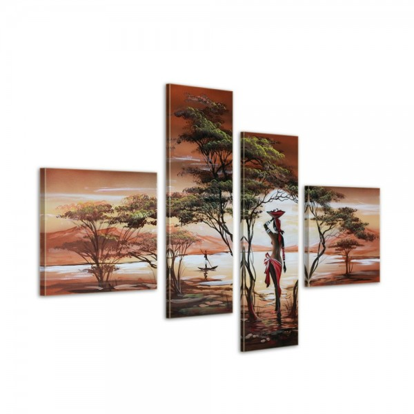 African Dreams M1 - Leinwandbild 4 teilig 100x70cm Handgemalt