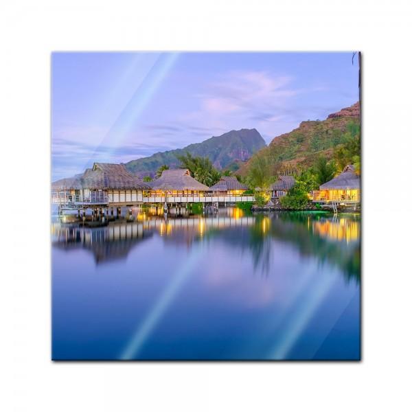 Glasbild - Wasserbungalows in französisch Polynesien