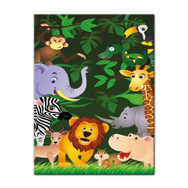Leinwandbild - Kinderbild - Lustige Tiere im Dschungel - Cartoon