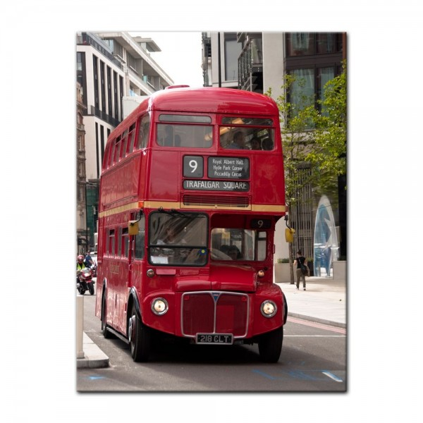 Leinwandbild - Alter Doppeldeckerbus London